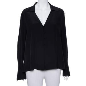 Fendi Black Silk V Neck Collared Button Front Shirt L