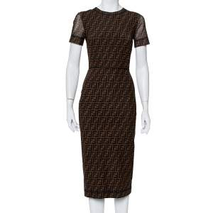Fendi Brown Zucca Monogram Mesh Sheath Dress S