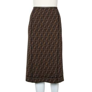 Fendi Brown Mesh Zucca Monogram Paneled Midi Skirt M