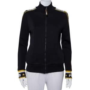 Fendi Black Knit Zipper Front Sweatshirt L