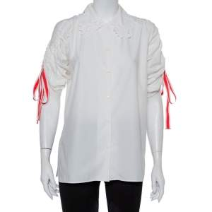 Fendi White Embroidered Cotton Drawstring Detail Button Front Shirt S