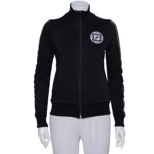 Fendi Black Jersey Logo Trim Detail Zip Front Jacket S
