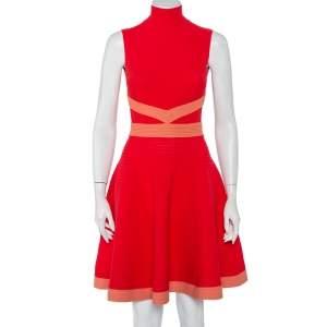 Fendi Red Rib Knit Contrast Trim High Neck Sleeveless Skater Dress S