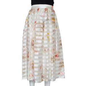 Fendi Off White Striped Blooming Printed Silk Midi Skirt M