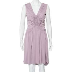 Fendi Lilac Knit Ruched Detail Mini Dress M