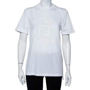 Fendi White Sequin Embellished Logo Embroidered Cotton Fringed Detail T shirt XXS