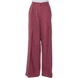 Fendi Red Checkered Wool Wide Leg Trousers M