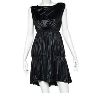 Fendi Black Coated Elastic Waist Detail Sleeveless Midi Dress M