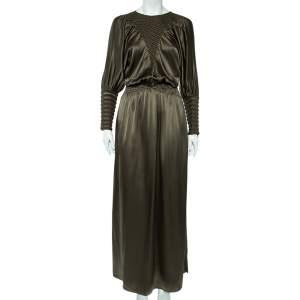 Fendi Olive Green Silk Smocked Side Slit Maxi Dress M