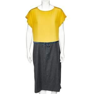 Fendi Yellow & Charcoal Grey Wool & Silk Paneled Waist Tie Detail Midi Dress M