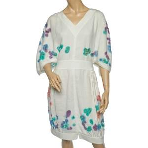 Fendi White Linen Cutout Detail V-Neck Dress M