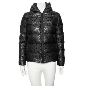 Fendi Black Printed Down Quilted Hooded Jacket S