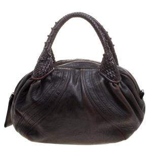 Fendi Dark Brown Leather Large Spy Bag