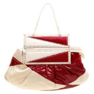 حقيبة كلتش فندي تو يو كونفرتيبل جلد ثعبان حمراء/ بيج فاتحة