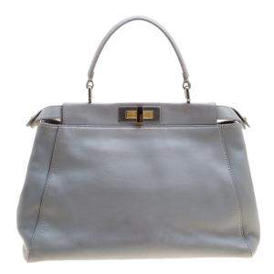 Fendi Grey Leather Medium Peekaboo Top Handle Bag