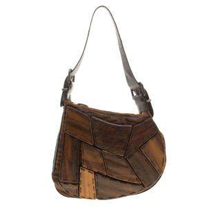 Fendi Brown Tiger Print Velvet, Wood and Lizard Embossed Leather Oyster Hobo