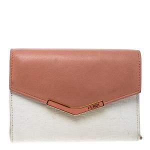 محفظة فندي 2جور صغيرة جلد وردية فاتحة/ بيضاء