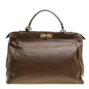 حقيبة فندي بيكابو كبيرة بطانة ثعبان مع جلد بنية