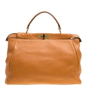 Fendi Brown Selleria Leather Large Peekaboo Top Handle Bag