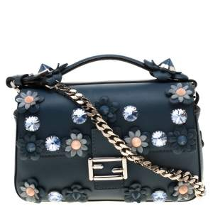 Fendi Blue Flowerland Leather Double Micro Baguette Bag