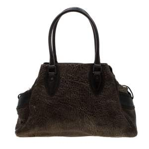 Fendi Dark Brown/Shimmer Gold Leather De Jour Media Crisp Satchel