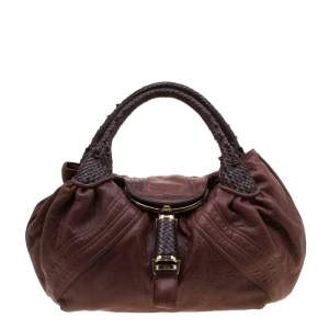 Fendi Brown Pebbled Leather Spy Bag