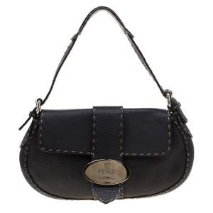 Fendi Black Leather Selleria Shoulder Bag