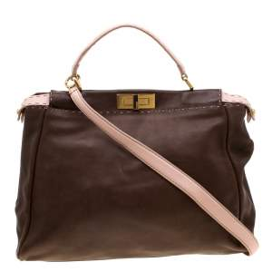 Fendi Brown/Pink Selleria Leather Large Peekaboo Top Handle Bag