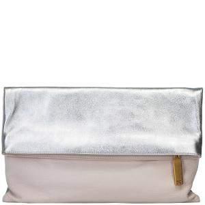 حقيبة كلتش فندي بطية جلد لونين