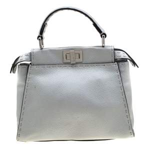 Fendi Silver Leather Selleria Mini Peekaboo Top Handle Bag
