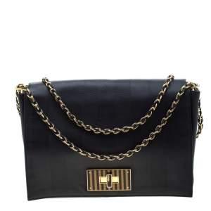 حقيبة فندي كلوديا بيكوين كبيرة جلد سوداء