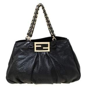 Fendi Black Leather Mia Shoulder Bag