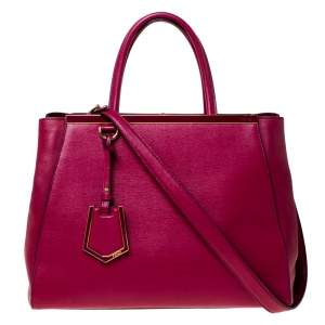 Fendi Burgundy Leather Medium 2Jours Tote