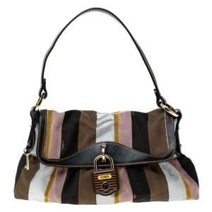 حقيبة كتف فندي شيف إصدار محدود بيكوين كانفاس متعدد الألوان