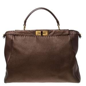 Fendi Metallic Brown Selleria Leather Large Peekaboo Top Handle Bag