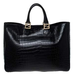Fendi Black Crocodile Twins Shopper Tote