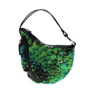 Fendi Blue/Green Sequin Oyster Hobo