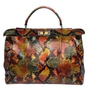 Fendi Multicolor Python Large Peeakboo Top Handle Bag