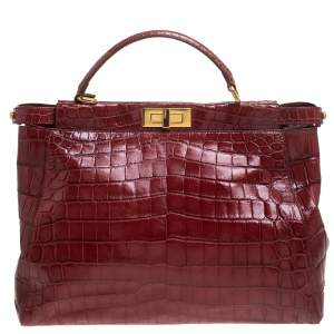حقيبة فندي بيكابو يد علوية جلد تمساح أحمر