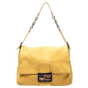 Fendi Yellow Iridescent Leather Large Mamma Forever Flap Shoulder Bag