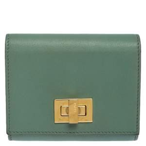 Fendi Light Olive Leather Card Holder