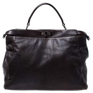 Fendi Dark Brown Leather Large Peekaboo Top Handle Bag
