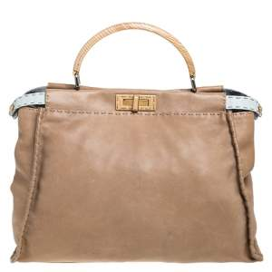 Fendi Beige Leather Large Selleria Peekaboo Top Handle Bag