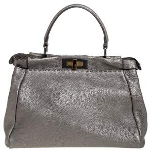 Fendi Metallic Grey Selleria Leather Medium Peekaboo Top Handle Bag