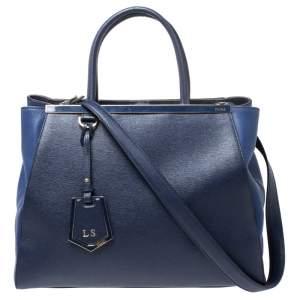 حقيبة يد فندي 2جور جلد أزرق لونين