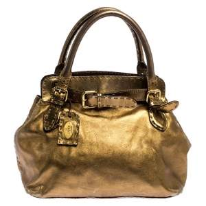 Fendi Gold Leather Selleria Villa Borghese Satchel
