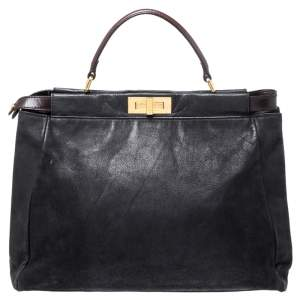 Fendi Black Nubuck Leather Large Peekaboo Top Handle Bag