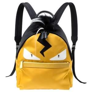 حقيبة ظهر فندي مونستر فرو وجلد/ نايلون سوداء/ صفراء
