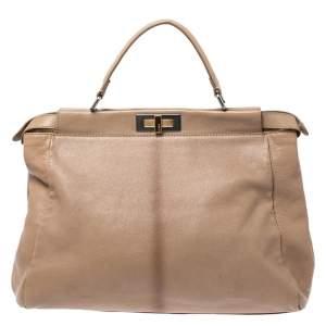 حقيبة فندي بيكابو جلد بيج كبيرة بأيدي علوية