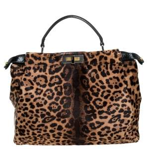 Fendi Brown/Black Calfhair and Patent Leather Large Peekaboo Top Handle Bag